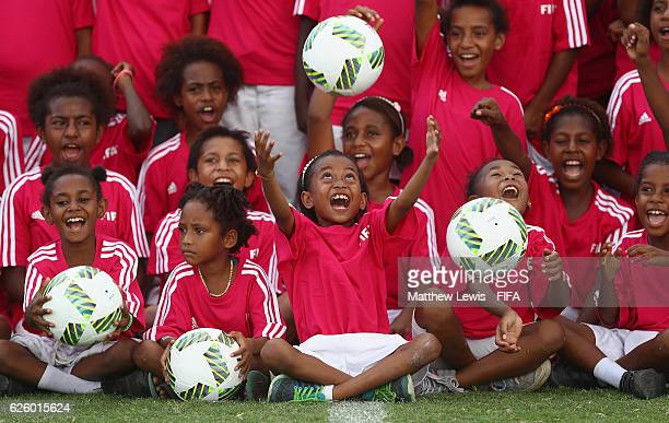 Local Girls in action during a 'Live Your Goals' event during the FIFA U-20 Women's World Cup Papua New Guinea 2016 at the PNG FS Stadium on November...