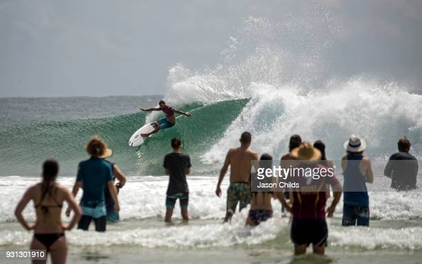 Local Gold Coast surfer Joel Parkinson shows his local knowledge of the surf to win his heat in the Quiksilver Pro Gold Coast Round 2 on the Gold...