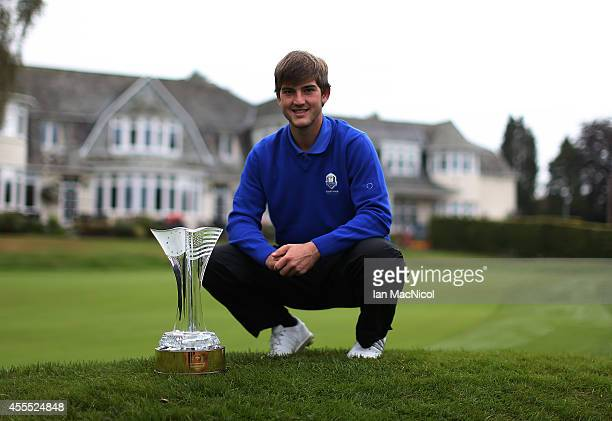 Local golfer and Junior Ryder Cup team member Bradley Neil posses with the trophy prior to next weeks competition at Blairgowrie Golf Course on...
