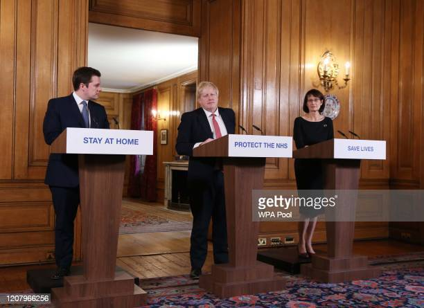 Local Government Secretary Robert Jenrick Prime Minister Boris Johnson and Deputy Chief Medical Officer Jenny Harries give a daily COVID 19 press...