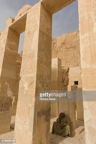 A local guide at the otherwise deserted ancient Egyptian Temple of Hatshepsut near the Valley of the Kings Luxor Nile Valley Egypt According to the...
