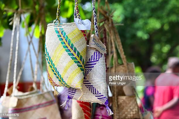 Local handmade baskets for sale, Tanna Island
