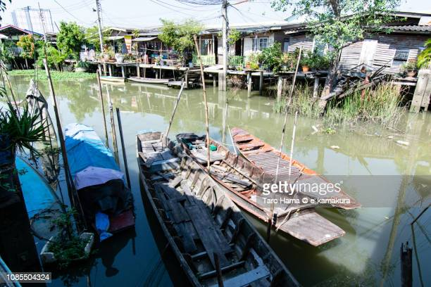 Local houses on Chao Phraya River in Nonthaburi Province in Thailand