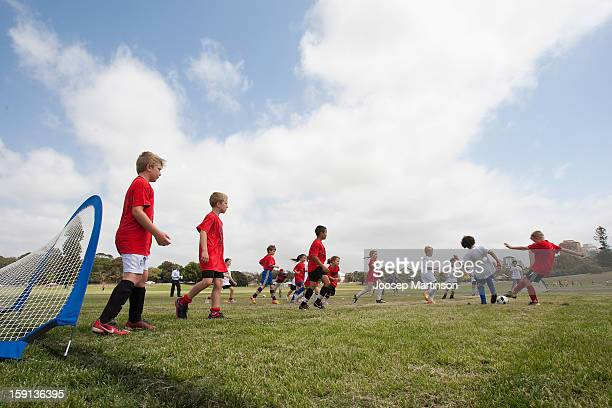 Local junior footballers play during a press conference at Queen's Park on January 9 2013 in Sydney Australia Today marks two years until the 2015...