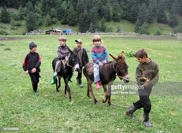 CONTENT] Local kids in the Caucasus region of Tusheti in Georgia have fun riding with their donkeys