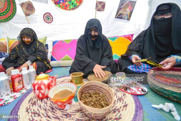 Local ladies demonstrate a traditional way of the fabrication of local products and a traditional food in Ras Al Khaimah emirate/UAE On Wednesday 1st...