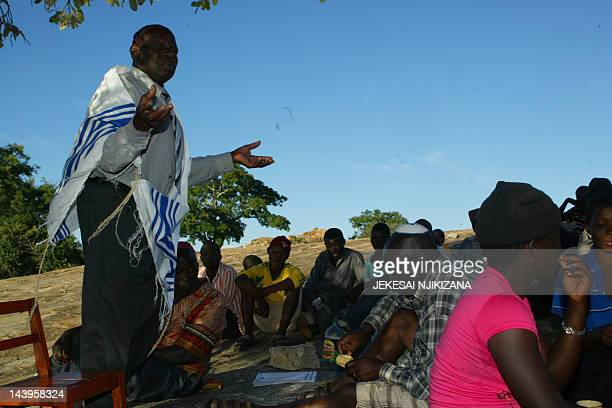 A local leader of the Lemba people wearing a prayer shawl chronicles the lineage and migration of the tribe on January 28 2012 in Gutu 250 kms...