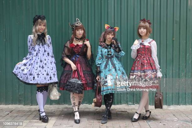 Local Lolitas Lolitas Clara Lau Angela Leung Sammi Wong and Kat Wong in Causeway Bay in Hong Kong on October 30 2016 30OCT16 [FEATURES] SCMP/Paul...