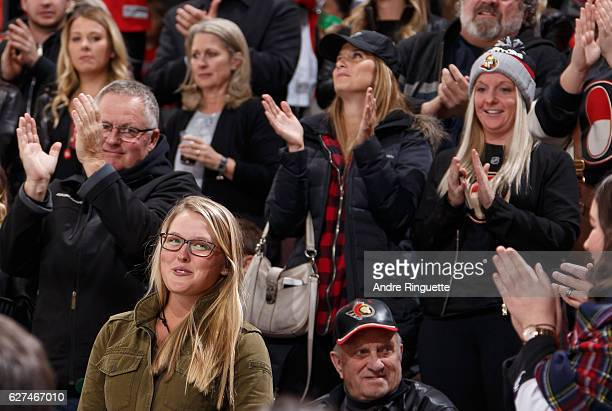 Local LPGA Tour profession golfer Brooke Henderson is introduced during an NHL game between the Ottawa Senators and the Florida Panthers at Canadian...