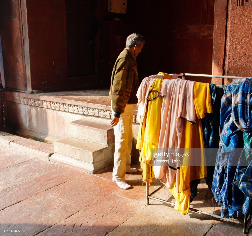 Local Man at the Jama Masjid Mosque, Delhi : Stock Photo
