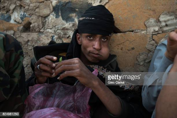 A local man chews qat leaves in Ibb City in southern Yemen