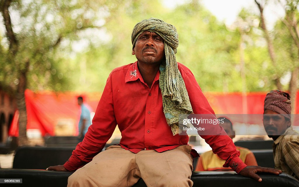 A local man poses at the Rock Garden on March 26 2010 in Chandigarh India The 12acre Rock Garden which began as secret project of Nek Chand in 1957...