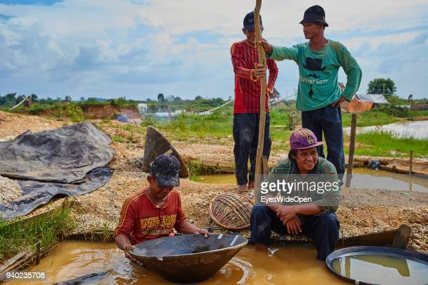 Local Man working at the traditional Diamond Mining at Cempaka Mine, one of the largest Mines in the Country on October 30, 2013 in Banjarmasin,...