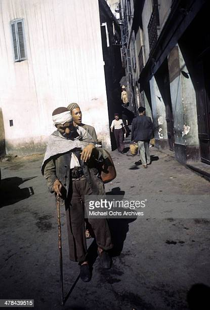 A local men walks in the Casbah of Algiers Algeria Off limits to US servicemen and patrolled by Military Police French and Algerian Police