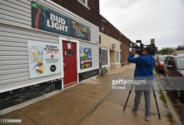 Local news videographer records footage of the entrance to Tequila KC bar were 9 people were shot and four killed on October 06, 2019 in Kansas City,...