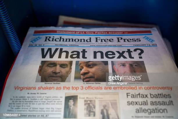 A local newspaper the Richmond Free Press with a front page featuring top Virginia state officials embroiled in controversies sits for sale in a...