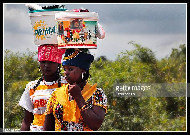 Local Nigerian village girls, selling street foods