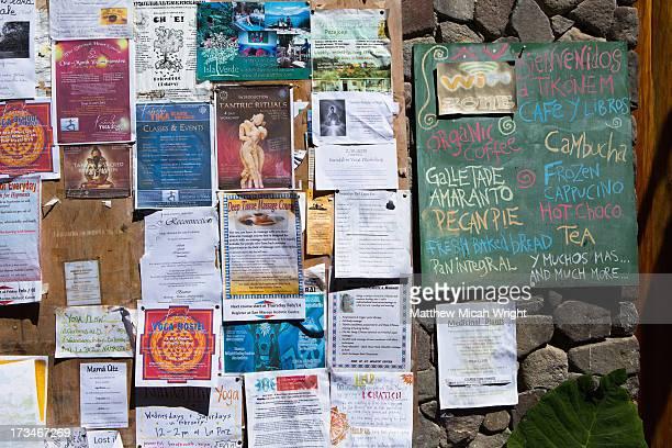A local notice board in San Marcos