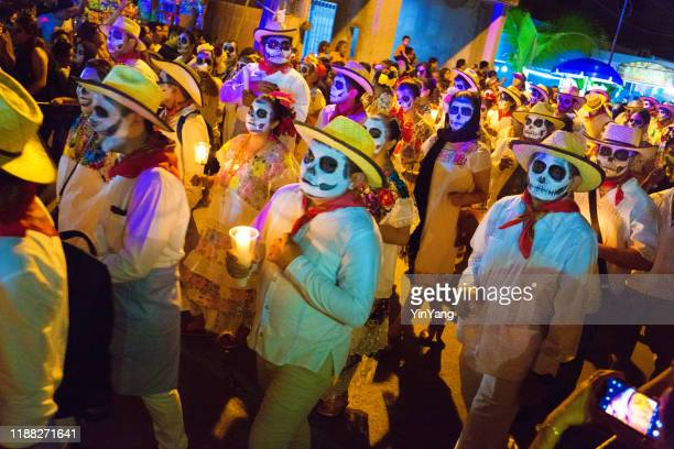 local participants in day of the dead in merida, yucatan, mexico - parade stock pictures, royalty-free photos & images