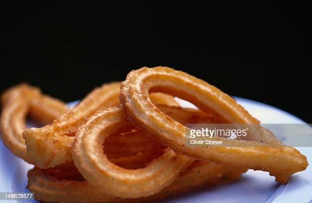 local pastry delicacies, churros - embalse de almendra, castilla y leon - churro fotografías e imágenes de stock