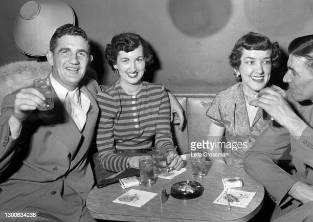Local patrons toast at The Key restaurant bar circa 1948 in Nashville, Tennessee.