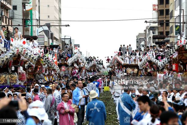Local people celebrate of start Japan's new imperial era Reiwa on May 01 2019 in Kobe Japan About 45 Danjiri large wooden carts in the shape of a...