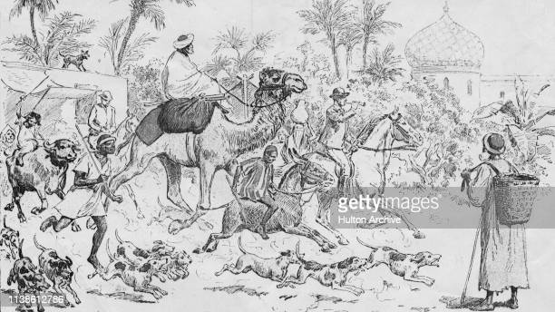 Local people follow English army officers as they set out on a fox hunt in Egypt circa 1890 The original caption reads 'We'll All Go Out Hunting...