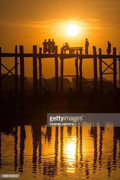 Local people life at U-Ben Bridge, Myanmar