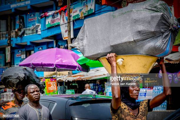 Local people on the street on October 200 2017 in Lagos Nigeria