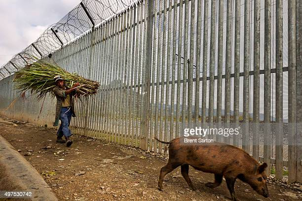 Local people seen next to the $30 million dollar security fence of the Porgera Joint Venture Mine Papua New Guinea Porgera Papua New Guinea 23...