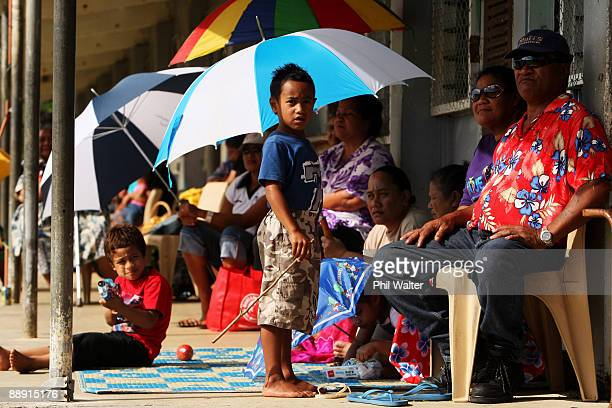 Local people watch the school sports day at the Niue High School on July 8 2009 in Alofi Niue New Zealand Prime Minister John Key is on a four day...