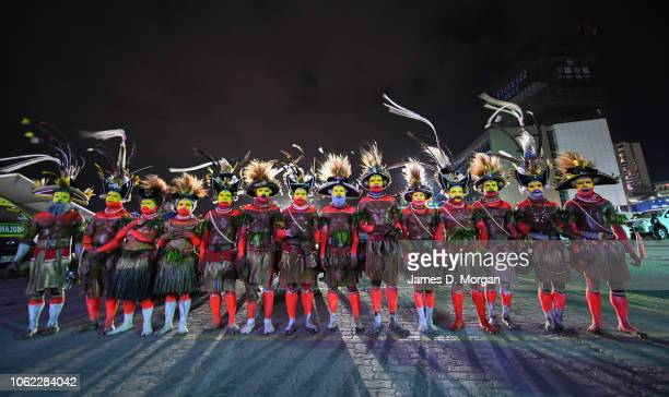 Local performers from Papua New Guinea at the entrance to the PO Cruise ship Pacific Explorer on November 16 2018 in Port Moresby Papua New Guinea...