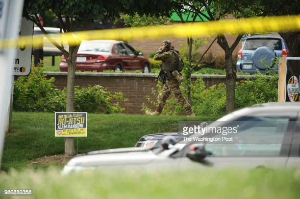 Local police at scene of shooting at the Capitol Gazette June 28 2018 in Annapolis MD