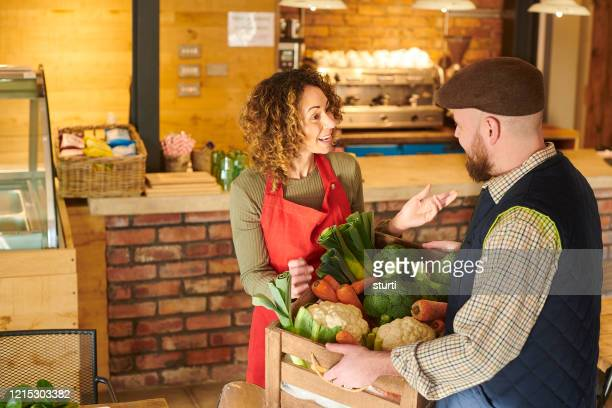 local produce for cafe - food distribution stock pictures, royalty-free photos & images