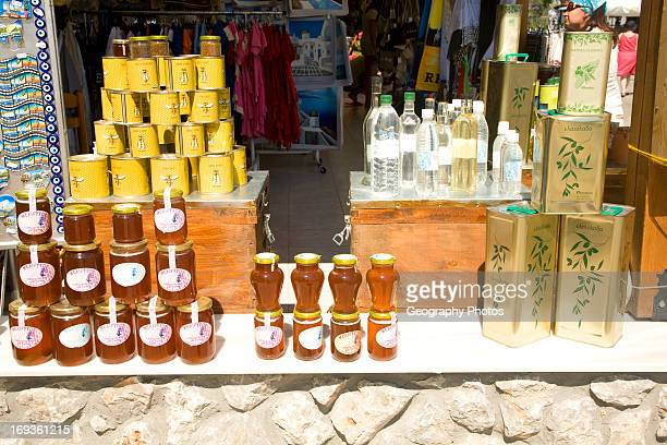 Local products display on sale Siana Rhodes Greece