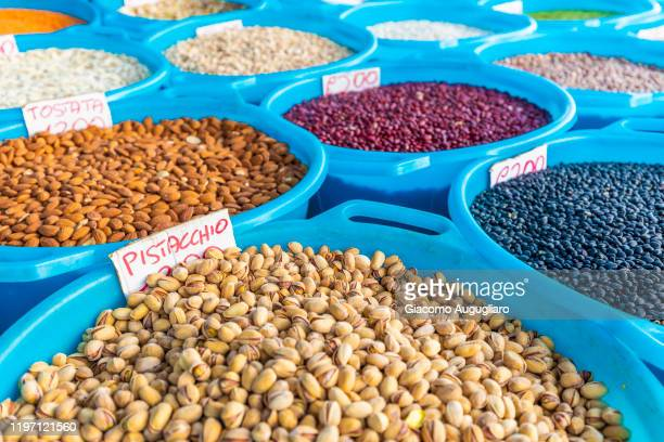 local products in the market of cefalù, palermo province, sicily, italy - giacomo palermo stock pictures, royalty-free photos & images