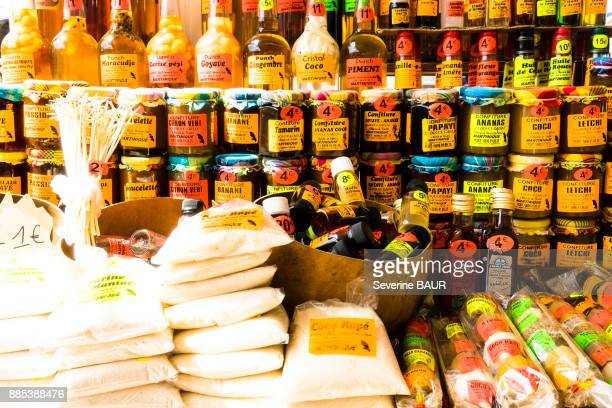 local products : jam, rhum...aint-pierre, martinique, france - martinique stock photos and pictures