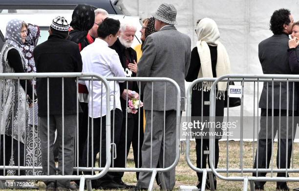 Local resident John Milne father of 14yearold murdered son Sayyad Milne one of 50 people killed in New Zealand's twin mosque massacre arrive for...
