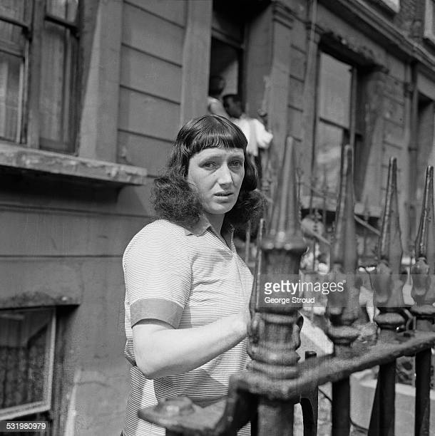 Local resident Mrs Agnes Joseph outside the front of her house after the Notting Hill race riots London 31st August 1958