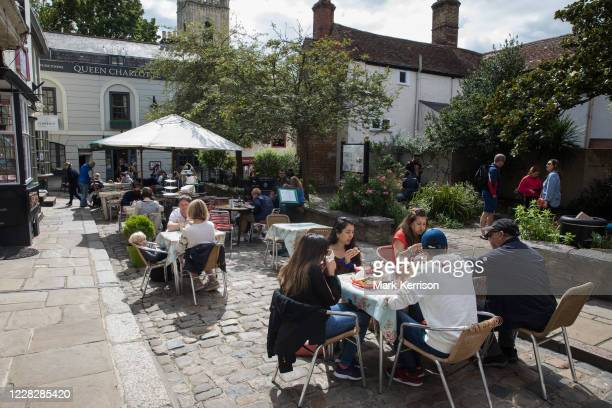 Local residents and visitors enjoy subsidised Bank Holiday Monday lunches on the final day of the governments Eat Out To Help Out meal scheme on 31...