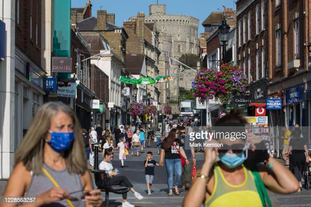 Local residents and visitors frequent town centre shops on 17 September 2020 in Windsor, United Kingdom. There was a substantial increase in new...