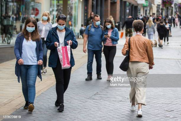 Local residents and visitors some wearing face coverings shop in Peascod Street on 27th August 2020 in Windsor United Kingdom Tessa Lindfield the...
