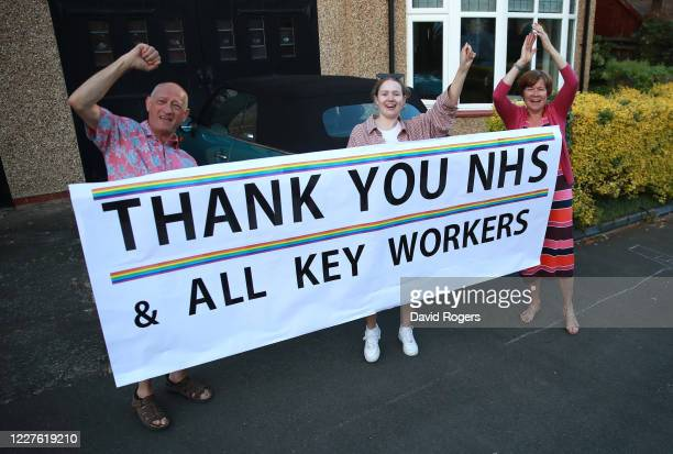 Local residents applaud the NHS and other Key Workers on May 28, 2020 in Northampton, United Kingdom. For 10 weeks, the public have applauded NHS...