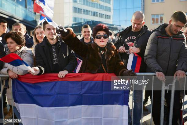 Local residents attend the parade in Banja Luka on January 9 2019 in Banja Luka Bosnia and Herzegovina Republika Srpska the Serbian entity of Bosnia...