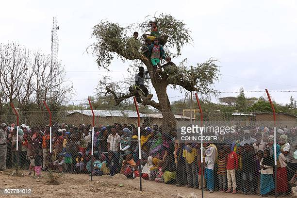 TOPSHOT Local residents await the arrival of the UN secretarygeneral in Ogolcho in Ethiopia's drought affected Oromia region to tour various UN...