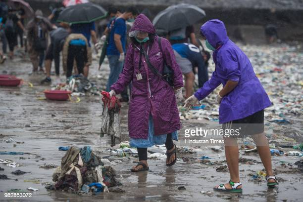 Plastic and garbage come out of the sea at Juhu on June 23 2018 in Mumbai India