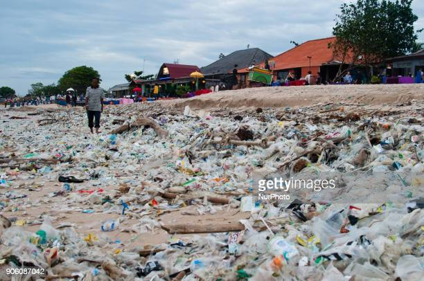 Local residents observed to see piles of garbage on January 17 2018 at Kedonganan beach Bali Indonesia