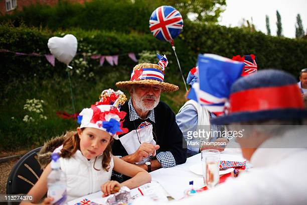 Local residents of the village of Yardley Hastings Northamptonshire celebrate the royal wedding with a street party on on April 29 2011 in...
