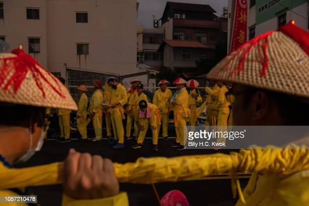 Local residents participate the Pingtung Wang Yeh BoatBurning Festival on November 3 2018 in Pingtung Taiwan The Wang Yeh Boat Burning Festival is...