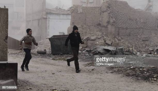 Local residents seen running away from their homes as shells were landing near the area The city of Douma was targeted today by Syrian government...